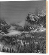 Enchanted Valley In Black And White Wood Print