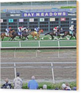 End Of An Era At Bay Meadows With Their Last Horse Race Wood Print