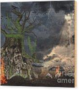 End Of Dark Night Wood Print