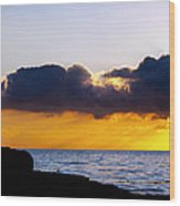 End Of Day On The Pacific Wood Print