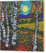 End Of Summer Birches Wood Print