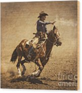 End Of Trail Mounted Shooting Wood Print