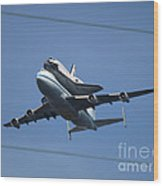 Endeavour Over Moffett Field Wood Print