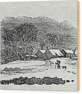 Endpiece, Late 18th Or Early 19th Century Wood Engraving 99;landscape; Winter; Figure; Snow; Snowy; Wood Print