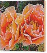 Engelmann Prickly Pear Cactus Flowers In Big Bend National Park-texas Wood Print