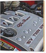 engine cover on an Alfa Romeo twin spark engine in a 156 Wood Print by Joe Fox