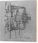 Engine Patent Drawing Wood Print
