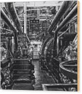 Engine Room Queen Mary 02 Bw 01 Wood Print