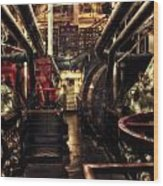 Engine Room Queen Mary 02 Sepia Wood Print