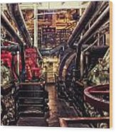 Engine Room Queen Mary 02 Wood Print