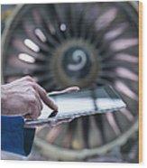 Engineer Using Digital Tablet In Front Wood Print