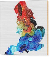 England - Map Of England By Sharon Cummings Wood Print
