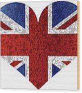 England Union Jack Flag Heart Textured Wood Print