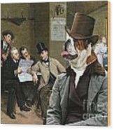 English Bulldog Art - The Latest News Wood Print