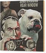 English Bulldog Art Canvas Print - Rear Window Movie Poster Wood Print