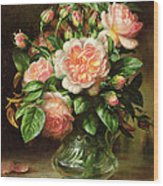 English Elegance Roses In A Glass Wood Print