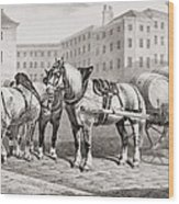 English Farm Horses, 1823 Wood Print