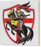 English Knight Lance England Flag Shield Retro Wood Print