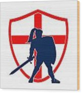 English Knight Silhouette England Flag Retro Wood Print by Aloysius Patrimonio