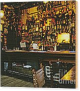 English Pub At Christmas-time Uk 1980s Wood Print by David Davies