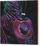 Enigma Purple. Black Art Wood Print by Jenny Rainbow