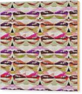 Enjoy Bliss Of Artistic Sensual Aura Lips  Kiss Romance Pattern Digital Graphic Signature   Art  Nav Wood Print