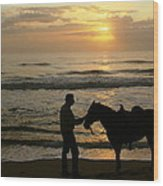 Enjoying The Sunrise Wood Print