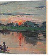 Enjoying The Sunset By Elmer's Pond Wood Print