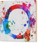 Enso Circle Paint Splatter Wood Print
