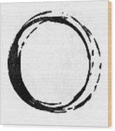 Enso No. 107 Black On White Wood Print