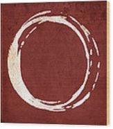Enso No. 107 Red Wood Print by Julie Niemela