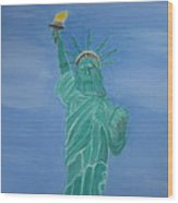 Enterprise On Statue Of Liberty Wood Print by Vandna Mehta