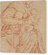Enthroned Madonna And Child Wood Print