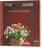 Entrance Door With Flowers Wood Print