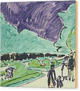 Entrance To A Large Garden In Dresden Wood Print by Ernst Ludwig Kirchner