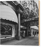 entrance to Macys department store on Broadway and 34th street at Herald square christmas Wood Print by Joe Fox