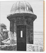 Entrance To Sentry Tower Castillo San Felipe Del Morro Fortress San Juan Puerto Rico Bw Film Grain Wood Print