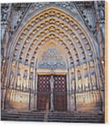 Entrance To The Barcelona Cathedral At Night Wood Print