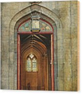 Entrance To The Gothic Revival Chapel. Streets Of Dublin. Painting Collection Wood Print by Jenny Rainbow