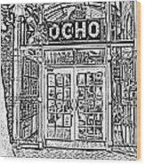 Entrance To Trendy Ocho Restaurant In San Antonio Texas Black And White Digital Art Wood Print