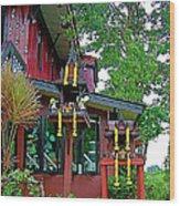 Entry Of A Thai Teak Home In Bangkok-thailand Wood Print