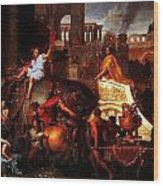 Entry Of Alexander Into Babylon Wood Print