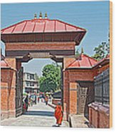 Entry To Pasupatinath Temple Of Cremation Complex In Kathmandu-nepal    Wood Print