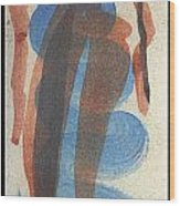 Entwined Figures Series No. 2 Blue Unknown Wood Print by Cathy Peterson