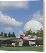 Epcot And The Monorail Ride Wood Print