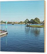 Epcot World Showcase Lagoon Panorama 05 Walt Disney World Wood Print
