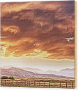 Epic Colorado Country Sunset Landscape Panorama Wood Print