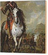 Equestrian Portrait Of Prince Eugene De Savoie 1663-1736 C.1700-10 Oil On Panel Wood Print