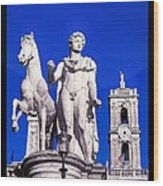 Equestrian Statue At Capitoline Hill Wood Print