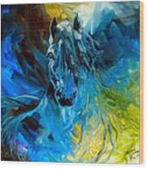 Equus Blue Ghost Wood Print by Marcia Baldwin